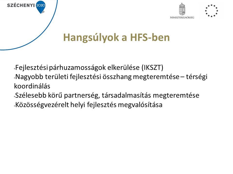 Hangsúlyok a HFS-ben Fejlesztési párhuzamosságok elkerülése (IKSZT) Nagyobb területi fejlesztési összhang megteremtése – térségi koordinálás Szélesebb körű partnerség, társadalmasítás megteremtése Közösségvezérelt helyi fejlesztés megvalósítása