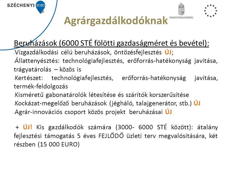 Agrárgazdálkodóknak Beruházások (6000 STÉ fölötti gazdaságméret és bevétel): - Vízgazdálkodási célú beruházások, öntözésfejlesztés ÚJ; - Állattenyésztés: technológiafejlesztés, erőforrás-hatékonyság javítása, trágyatárolás – közös is - Kertészet: technológiafejlesztés, erőforrás-hatékonyság javítása, termék-feldolgozás - Kisméretű gabonatárolók létesítése és szárítók korszerűsítése - Kockázat-megelőző beruházások (jégháló, talajgenerátor, stb.) ÚJ - Agrár-innovációs csoport közös projekt beruházásai ÚJ + ÚJ.