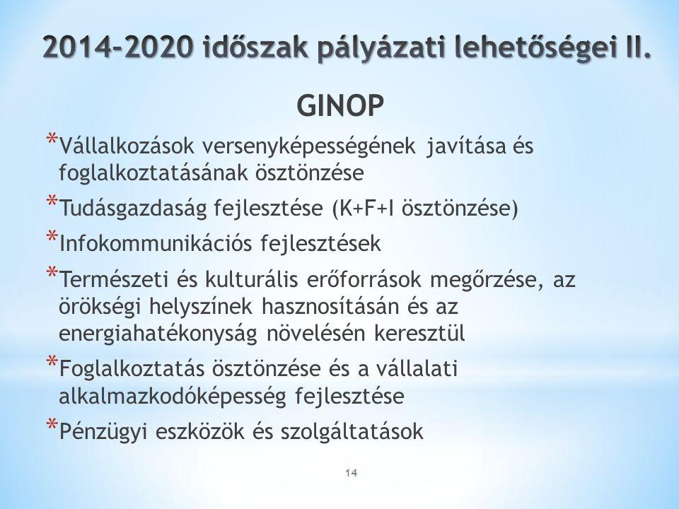 14 GINOP * Vállalkozások versenyképességének javítása és foglalkoztatásának ösztönzése * Tudásgazdaság fejlesztése (K+F+I ösztönzése) * Infokommunikációs fejlesztések * Természeti és kulturális erőforrások megőrzése, az örökségi helyszínek hasznosításán és az energiahatékonyság növelésén keresztül * Foglalkoztatás ösztönzése és a vállalati alkalmazkodóképesség fejlesztése * Pénzügyi eszközök és szolgáltatások