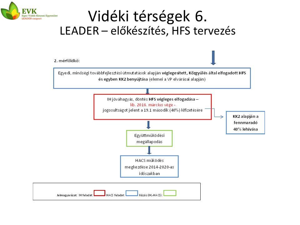 Vidéki térségek 6. LEADER – előkészítés, HFS tervezés