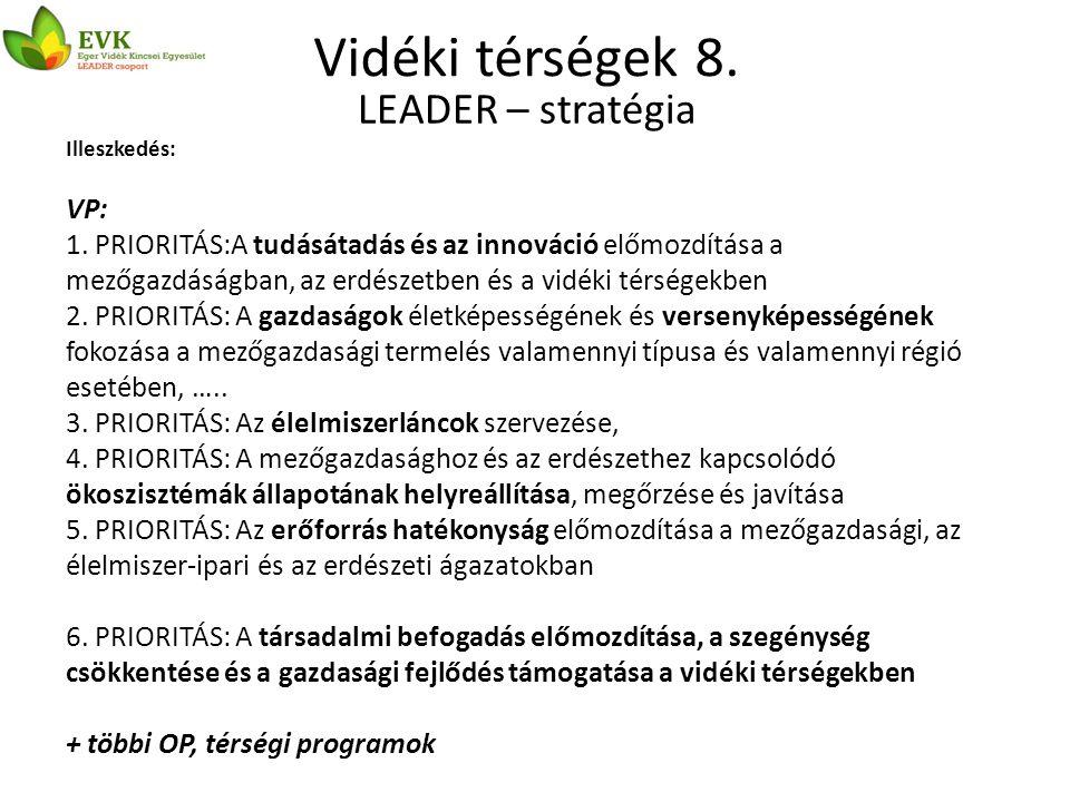Vidéki térségek 8. LEADER – stratégia Illeszkedés: VP: 1.