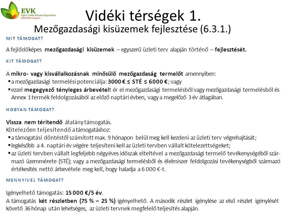 Vidéki térségek 1. Mezőgazdasági kisüzemek fejlesztése (6.3.1.) MIT TÁMOGAT.