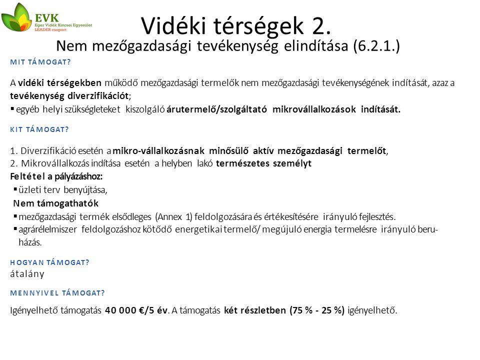 Vidéki térségek 3.Nem mezőgazdasági tevékenységek fejlesztése (6.4.1.) MIT TÁMOGAT.