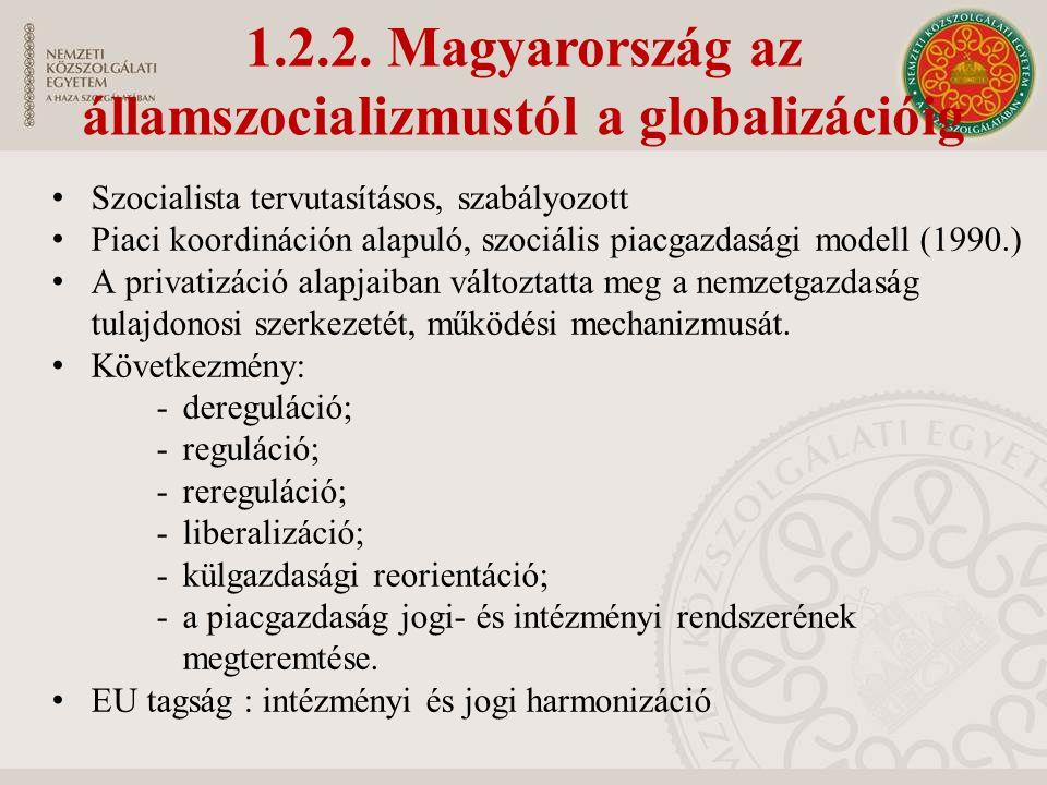 1.2.2. Magyarország az államszocializmustól a globalizációig Szocialista tervutasításos, szabályozott Piaci koordináción alapuló, szociális piacgazdas