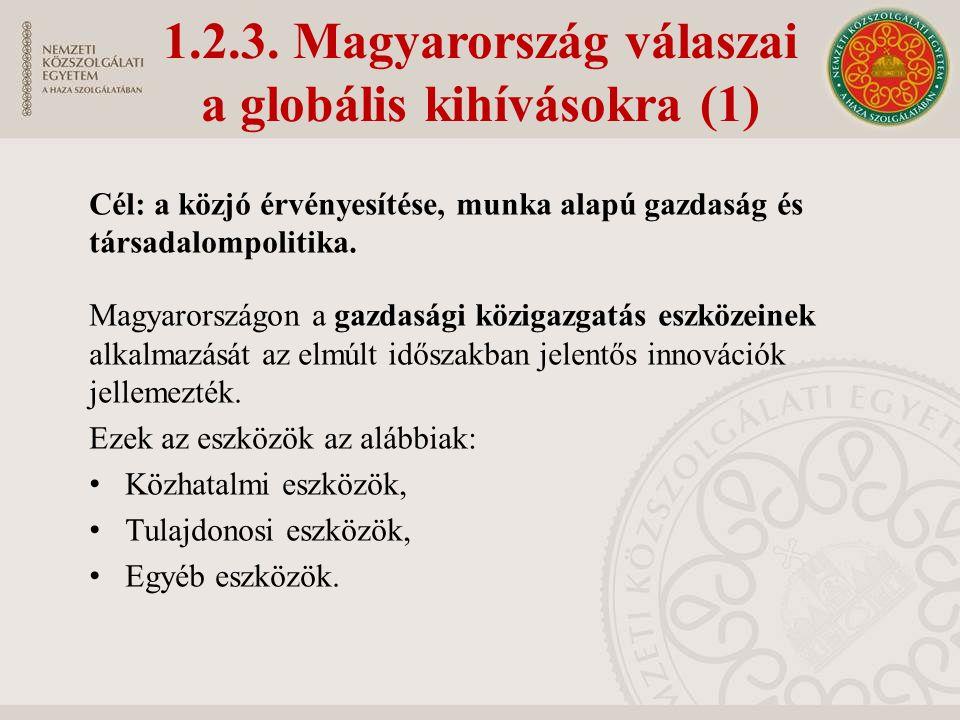 1.2.3. Magyarország válaszai a globális kihívásokra (1) Cél: a közjó érvényesítése, munka alapú gazdaság és társadalompolitika. Magyarországon a gazda