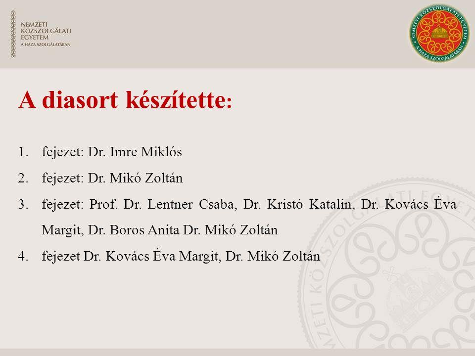 A diasort készítette : 1.fejezet: Dr. Imre Miklós 2.fejezet: Dr. Mikó Zoltán 3.fejezet: Prof. Dr. Lentner Csaba, Dr. Kristó Katalin, Dr. Kovács Éva Ma