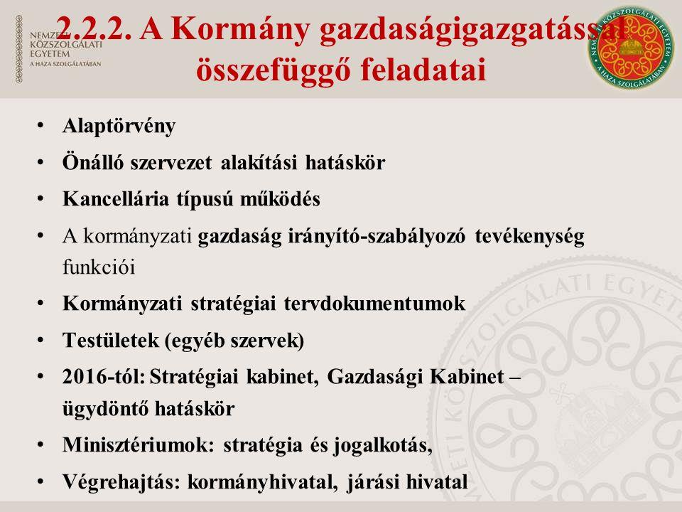2.2.2. A Kormány gazdaságigazgatással összefüggő feladatai Alaptörvény Önálló szervezet alakítási hatáskör Kancellária típusú működés A kormányzati ga