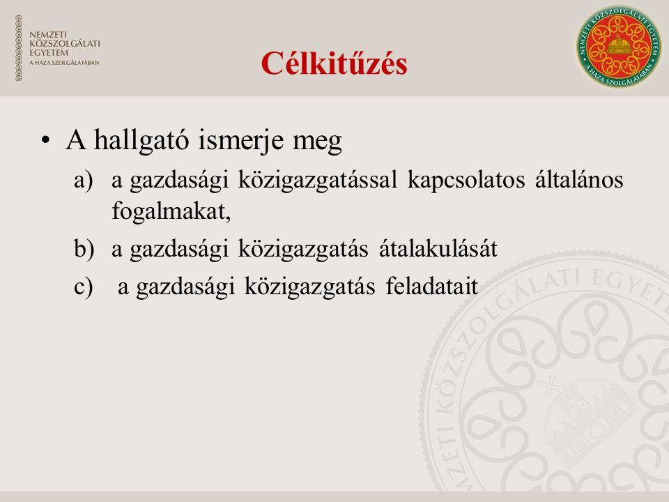 Célkitűzés A hallgató ismerje meg a)a gazdasági közigazgatással kapcsolatos általános fogalmakat, b)a gazdasági közigazgatás átalakulását c) a gazdasá