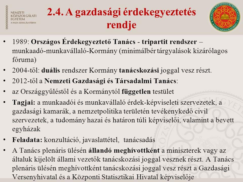 2.4. A gazdasági érdekegyeztetés rendje 1989: Országos Érdekegyeztető Tanács - tripartit rendszer – munkaadó-munkavállaló-Kormány (minimálbér tárgyalá