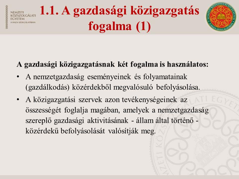 1.1. A gazdasági közigazgatás fogalma (1) A gazdasági közigazgatásnak két fogalma is használatos: A nemzetgazdaság eseményeinek és folyamatainak (gazd