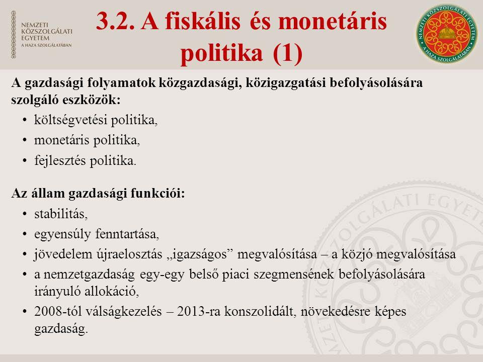 3.2. A fiskális és monetáris politika (1) A gazdasági folyamatok közgazdasági, közigazgatási befolyásolására szolgáló eszközök: költségvetési politika