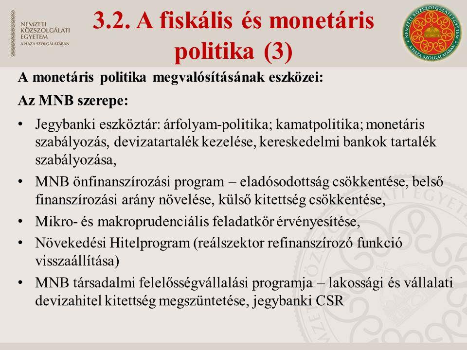 3.2. A fiskális és monetáris politika (3) A monetáris politika megvalósításának eszközei: Az MNB szerepe: Jegybanki eszköztár: árfolyam-politika; kama