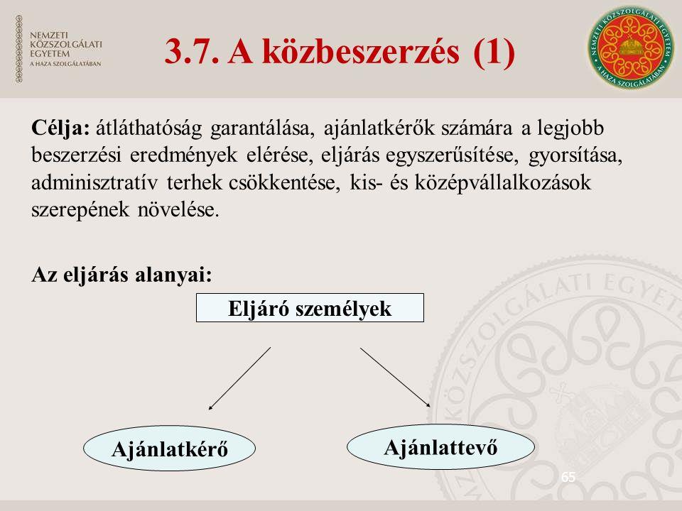 65 3.7. A közbeszerzés (1) Célja: átláthatóság garantálása, ajánlatkérők számára a legjobb beszerzési eredmények elérése, eljárás egyszerűsítése, gyor