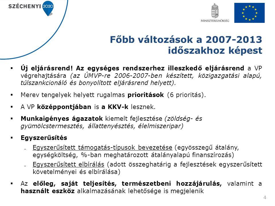 Főbb változások a 2007-2013 időszakhoz képest  Új eljárásrend! Az egységes rendszerhez illeszkedő eljárásrend a VP végrehajtására (az ÚMVP-re 2006-20