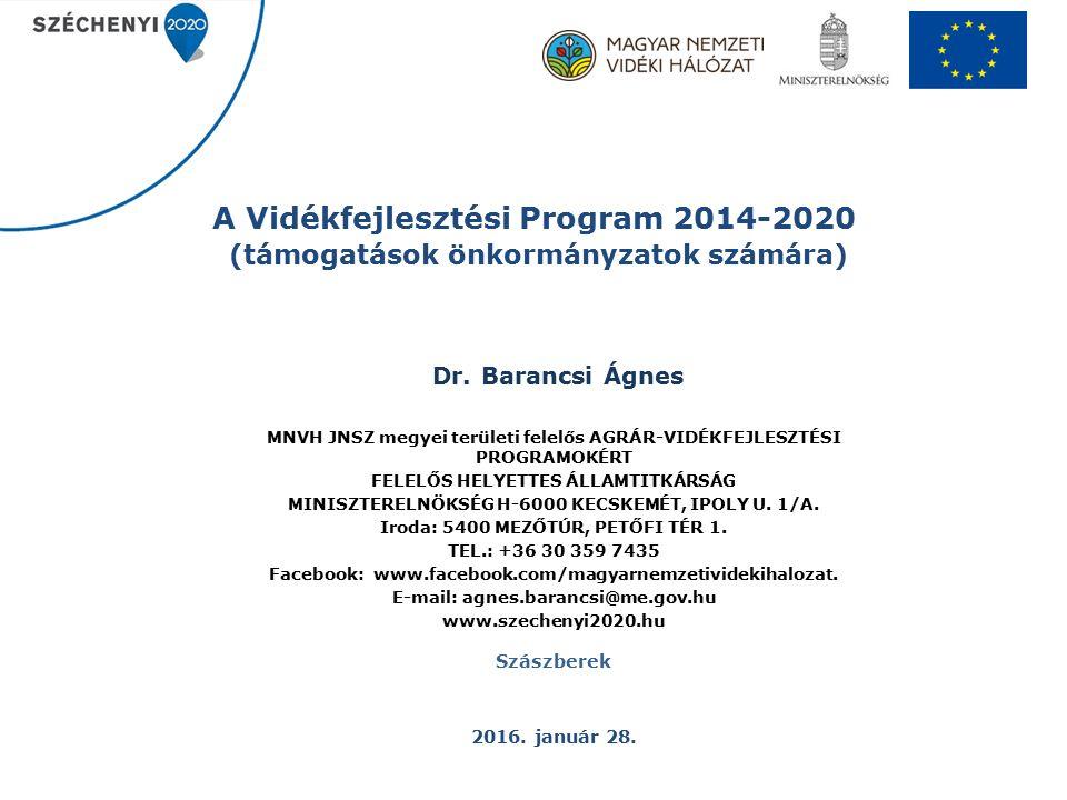 A Vidékfejlesztési Program 2014-2020 (támogatások önkormányzatok számára) Dr.