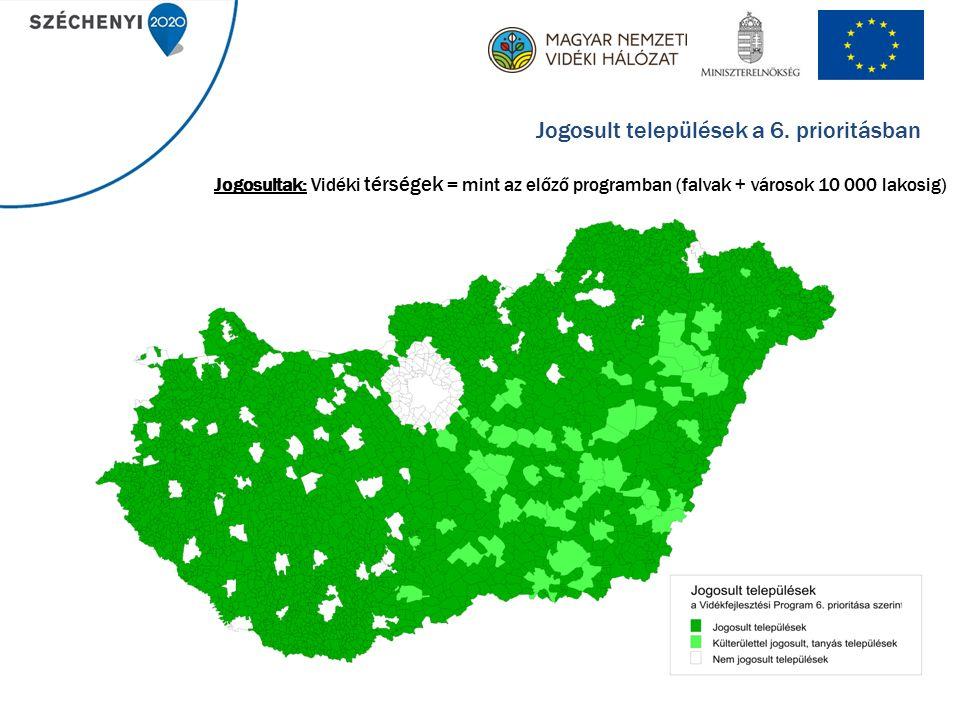 16 Jogosultak: Vidéki térségek = mint az előző programban (falvak + városok 10 000 lakosig) Jogosult települések a 6.