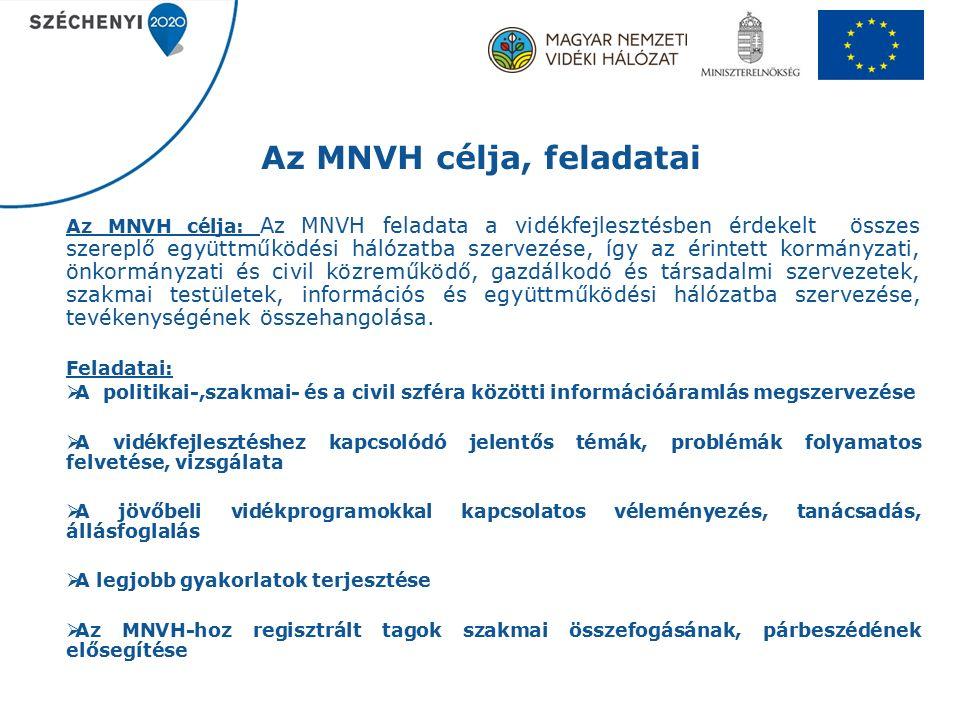 Az MNVH célja, feladatai Az MNVH célja: Az MNVH feladata a vidékfejlesztésben érdekelt összes szereplő együttműködési hálózatba szervezése, így az érintett kormányzati, önkormányzati és civil közreműködő, gazdálkodó és társadalmi szervezetek, szakmai testületek, információs és együttműködési hálózatba szervezése, tevékenységének összehangolása.