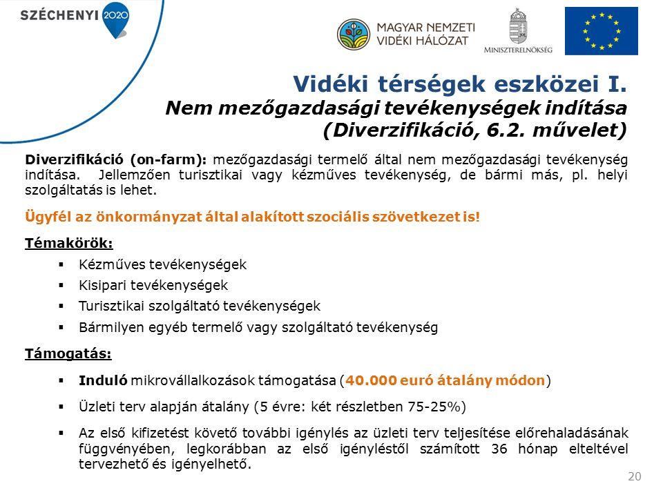 Vidéki térségek eszközei I. Nem mezőgazdasági tevékenységek indítása (Diverzifikáció, 6.2.