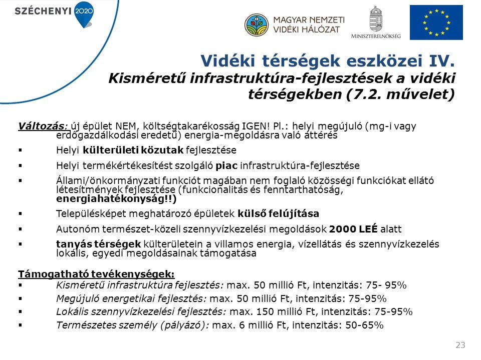 Vidéki térségek eszközei IV. Kisméretű infrastruktúra-fejlesztések a vidéki térségekben (7.2.