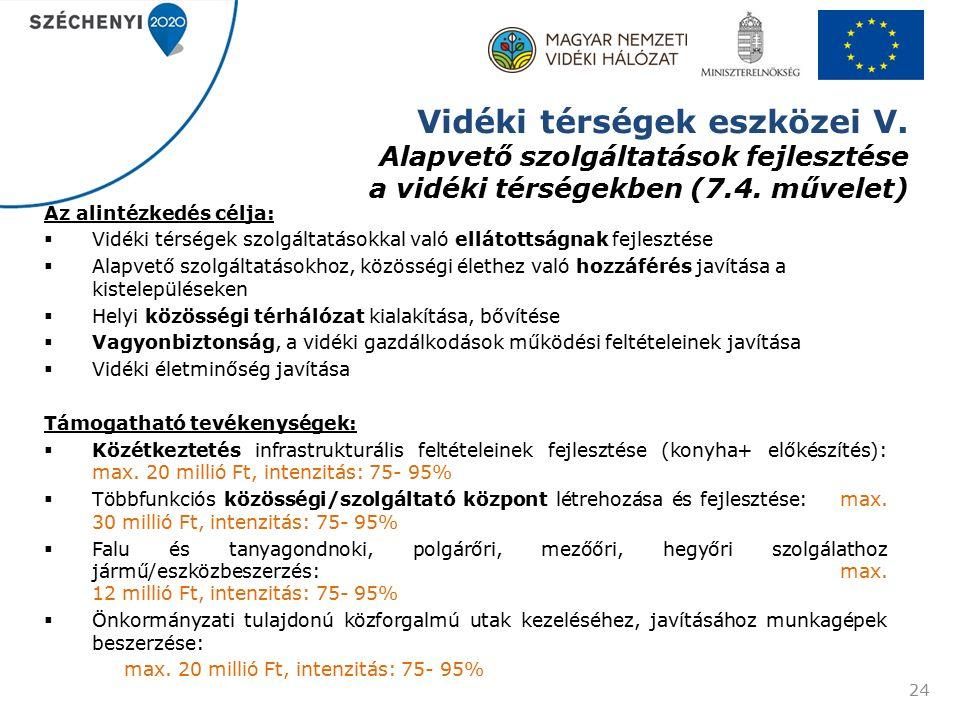 Vidéki térségek eszközei V. Alapvető szolgáltatások fejlesztése a vidéki térségekben (7.4.