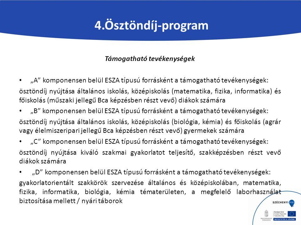 """4.Ösztöndíj-program Támogatható tevékenységek """"A komponensen belül ESZA típusú forrásként a támogatható tevékenységek: ösztöndíj nyújtása általános iskolás, középiskolás (matematika, fizika, informatika) és főiskolás (műszaki jellegű Bca képzésben részt vevő) diákok számára """"B komponensen belül ESZA típusú forrásként a támogatható tevékenységek: ösztöndíj nyújtása általános iskolás, középiskolás (biológia, kémia) és főiskolás (agrár vagy élelmiszeripari jellegű Bca képzésben részt vevő) gyermekek számára """"C komponensen belül ESZA típusú forrásként a támogatható tevékenységek: ösztöndíj nyújtása kiváló szakmai gyakorlatot teljesítő, szakképzésben részt vevő diákok számára """"D komponensen belül ESZA típusú forrásként a támogatható tevékenységek: gyakorlatorientált szakkörök szervezése általános és középiskolában, matematika, fizika, informatika, biológia, kémia tématerületen, a megfelelő laborhasználat biztosítása mellett / nyári táborok"""