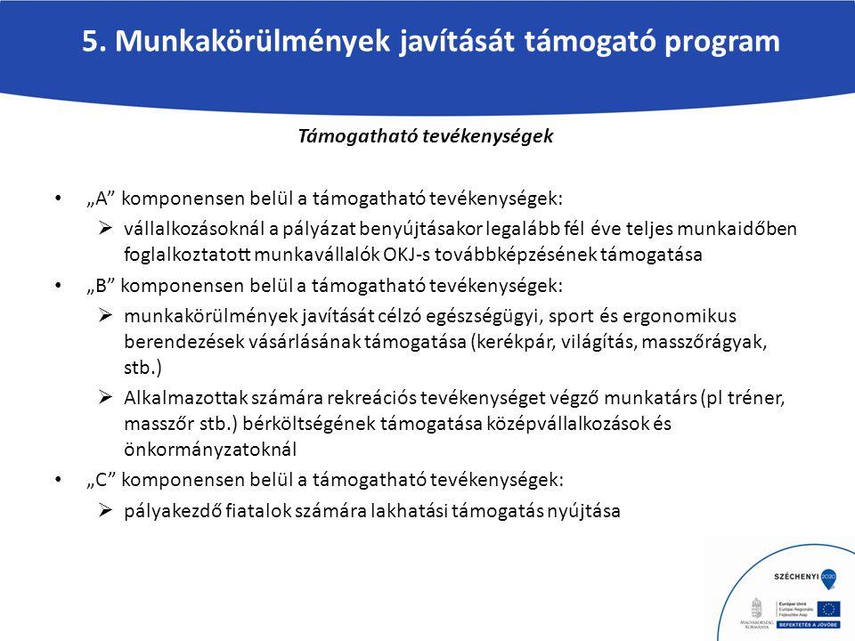 """5. Munkakörülmények javítását támogató program Támogatható tevékenységek """"A"""" komponensen belül a támogatható tevékenységek:  vállalkozásoknál a pályá"""