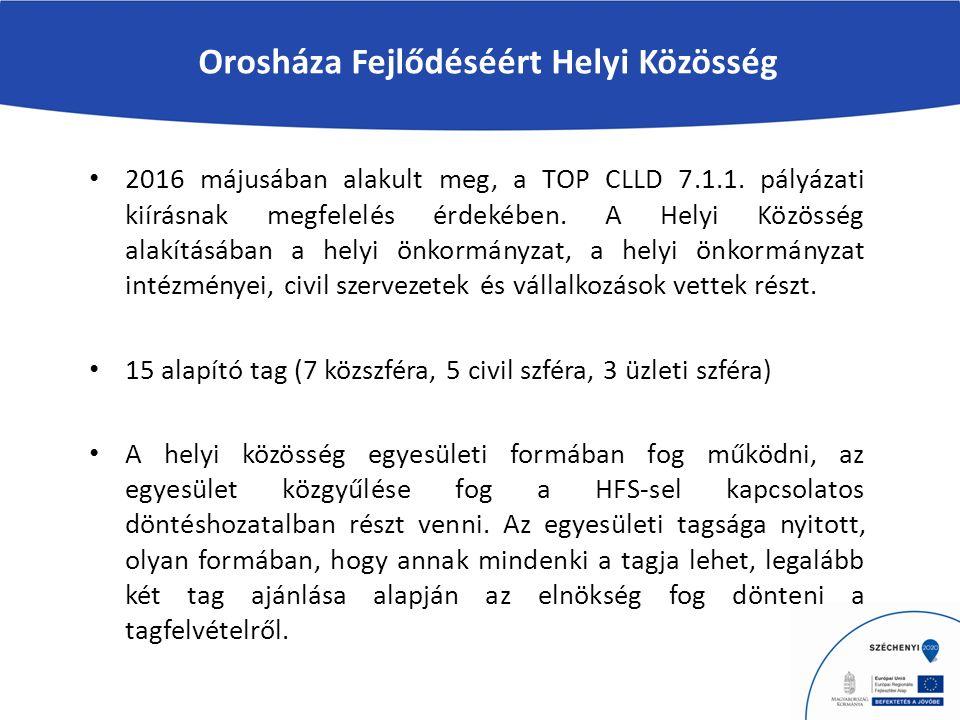 Orosháza Fejlődéséért Helyi Közösség 2016 májusában alakult meg, a TOP CLLD 7.1.1.