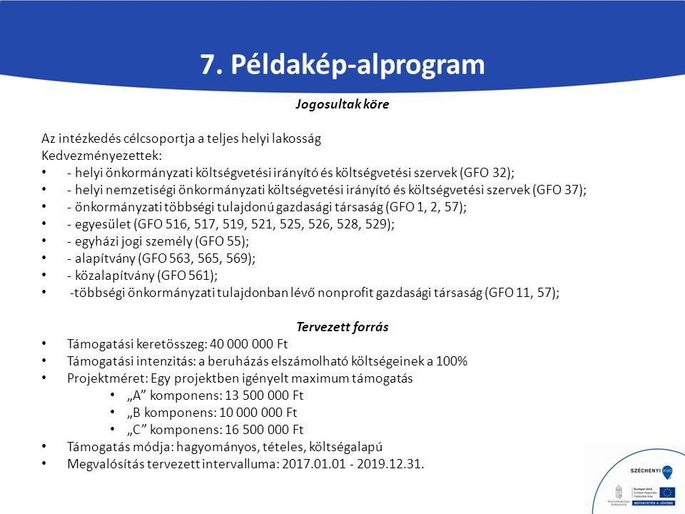7. Példakép-alprogram Jogosultak köre Az intézkedés célcsoportja a teljes helyi lakosság Kedvezményezettek: - helyi önkormányzati költségvetési irányí