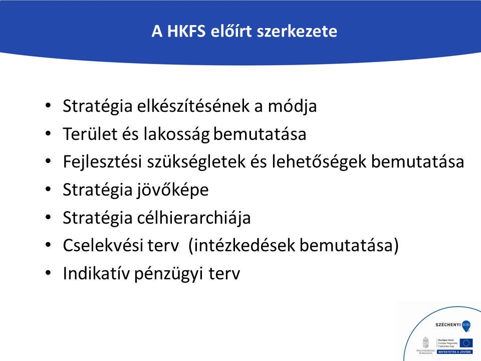 A HKFS előírt szerkezete Stratégia elkészítésének a módja Terület és lakosság bemutatása Fejlesztési szükségletek és lehetőségek bemutatása Stratégia jövőképe Stratégia célhierarchiája Cselekvési terv (intézkedések bemutatása) Indikatív pénzügyi terv