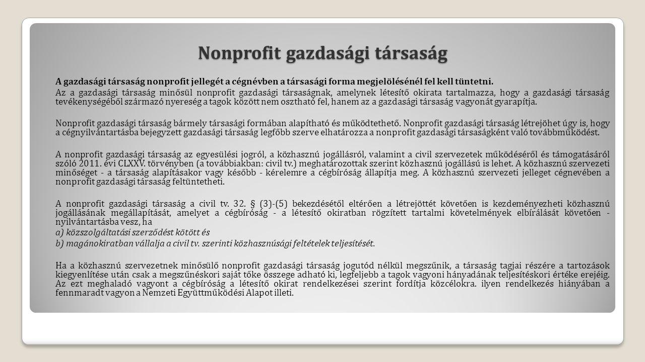 Nonprofit gazdasági társaság A gazdasági társaság nonprofit jellegét a cégnévben a társasági forma megjelölésénél fel kell tüntetni.