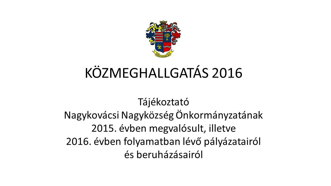 KÖZMEGHALLGATÁS 2016 Tájékoztató Nagykovácsi Nagyközség Önkormányzatának 2015.
