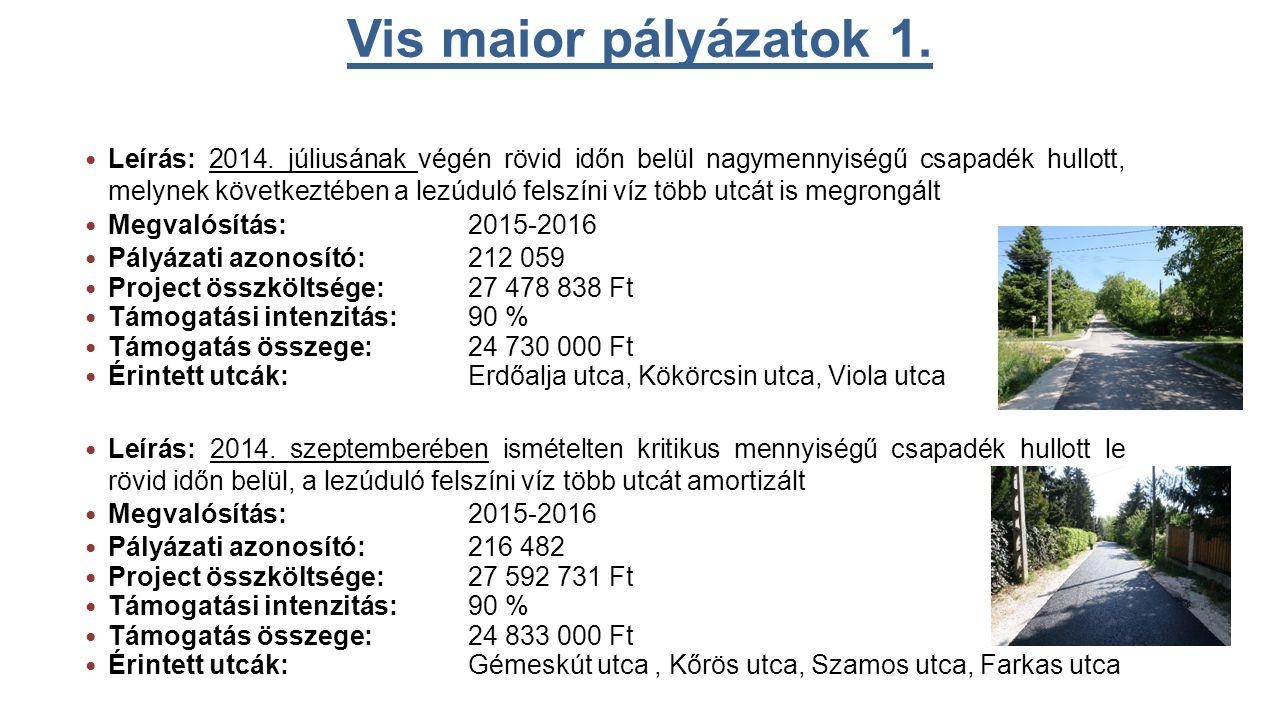 Vis maior pályázatok 1. Leírás: 2014.