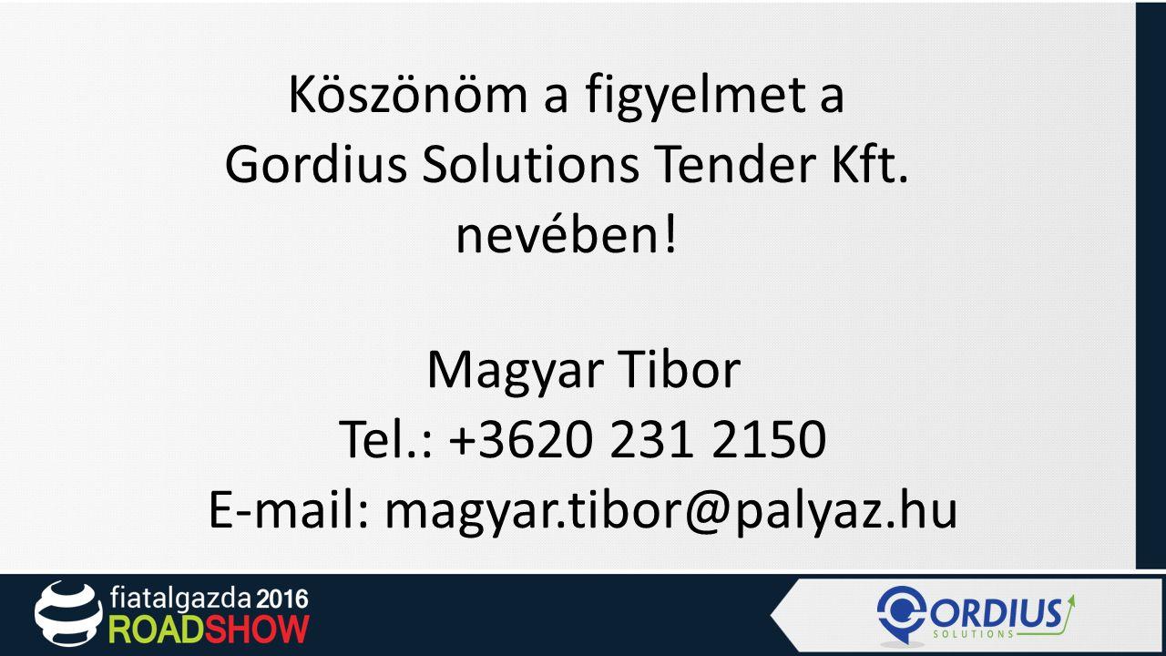 Köszönöm a figyelmet a Gordius Solutions Tender Kft.