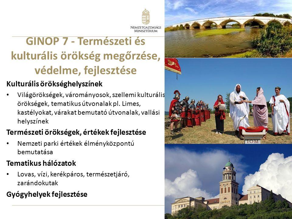 10 GINOP 7 - Természeti és kulturális örökség megőrzése, védelme, fejlesztése Kulturális örökséghelyszínek Világörökségek, várományosok, szellemi kult