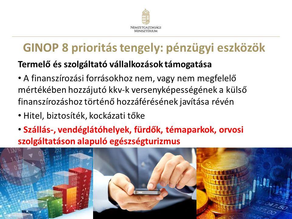 11 GINOP 8 prioritás tengely: pénzügyi eszközök Termelő és szolgáltató vállalkozások támogatása A finanszírozási forrásokhoz nem, vagy nem megfelelő m
