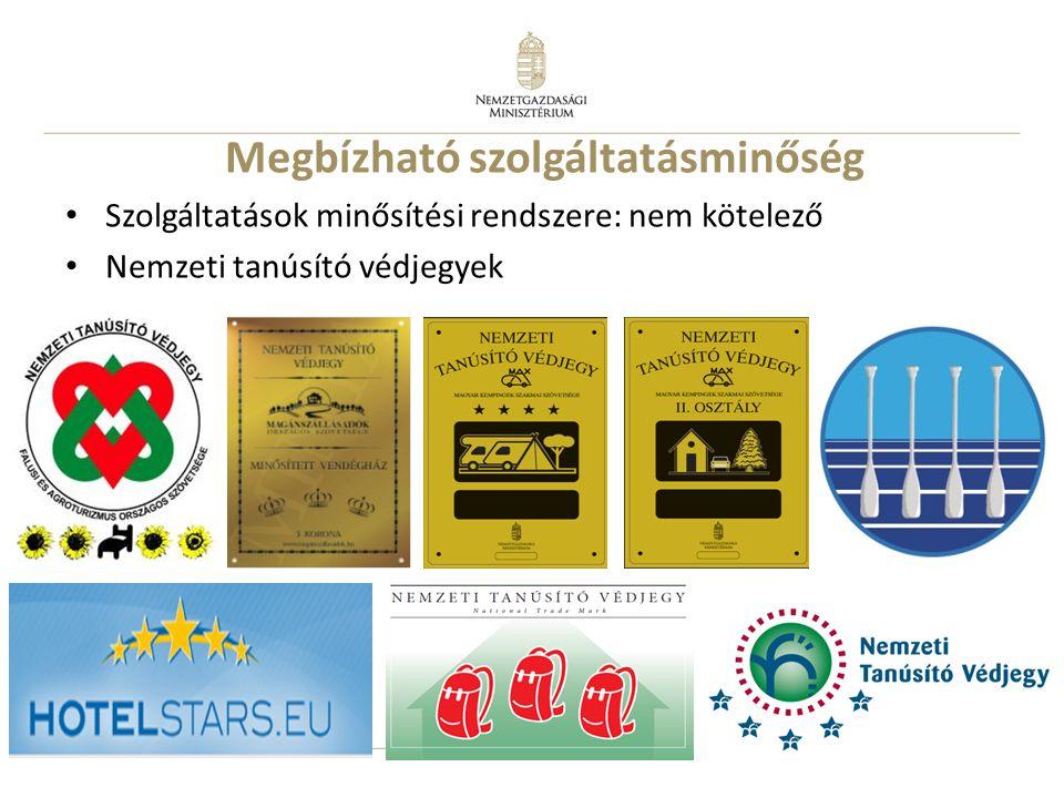 7 Megbízható szolgáltatásminőség Szolgáltatások minősítési rendszere: nem kötelező Nemzeti tanúsító védjegyek
