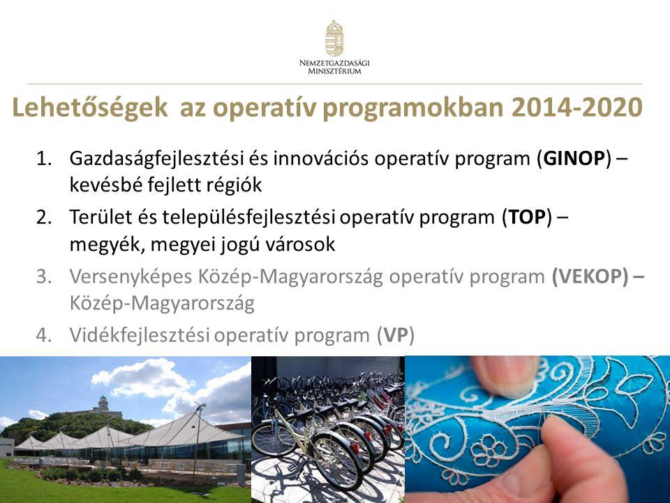 8 Lehetőségek az operatív programokban 2014-2020 1.Gazdaságfejlesztési és innovációs operatív program (GINOP) – kevésbé fejlett régiók 2.Terület és te