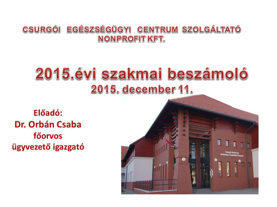 Pályázatok I.Az Egészségügyi Centrum humán infrastruktúrájának fejlesztése Csurgón.