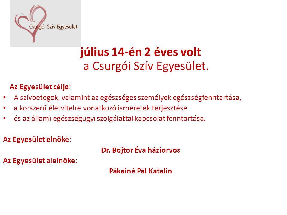 július 14-én 2 éves volt a Csurgói Szív Egyesület. Az Egyesület célja: A szívbetegek, valamint az egészséges személyek egészségfenntartása, a korszerű