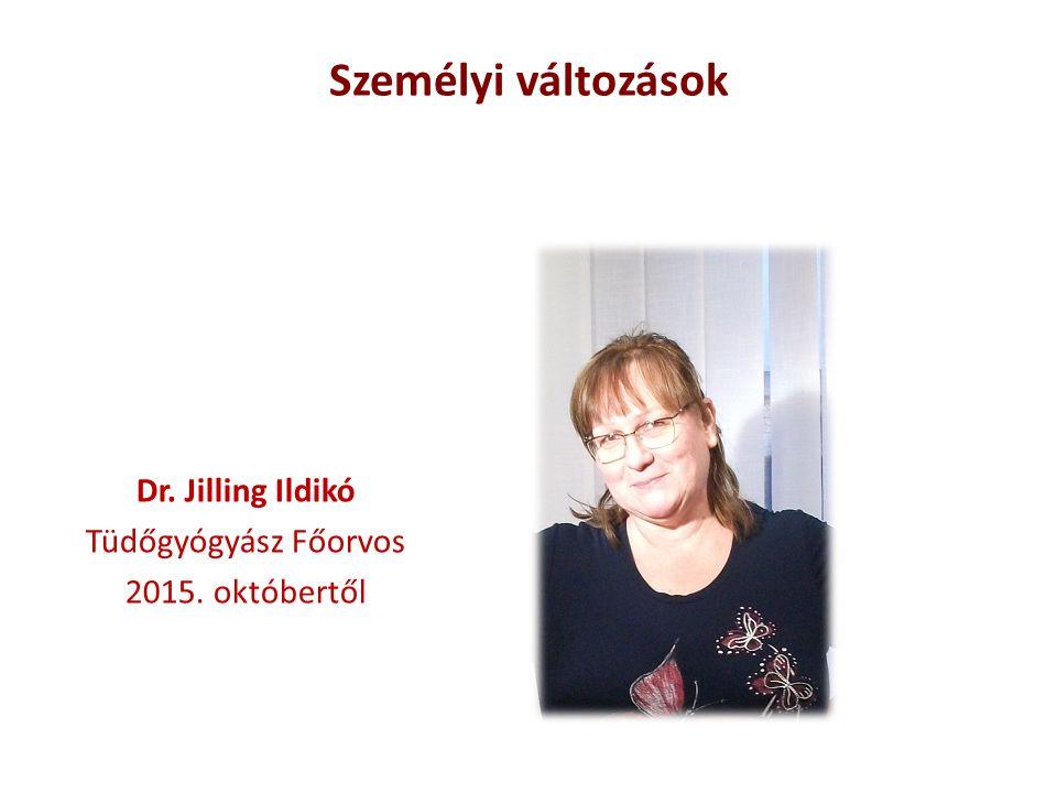 Dr. Jilling Ildikó Tüdőgyógyász Főorvos 2015. októbertől Személyi változások