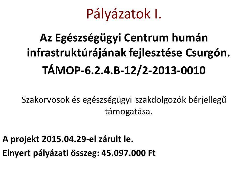 Pályázatok I. Az Egészségügyi Centrum humán infrastruktúrájának fejlesztése Csurgón. TÁMOP-6.2.4.B-12/2-2013-0010 Szakorvosok és egészségügyi szakdolg