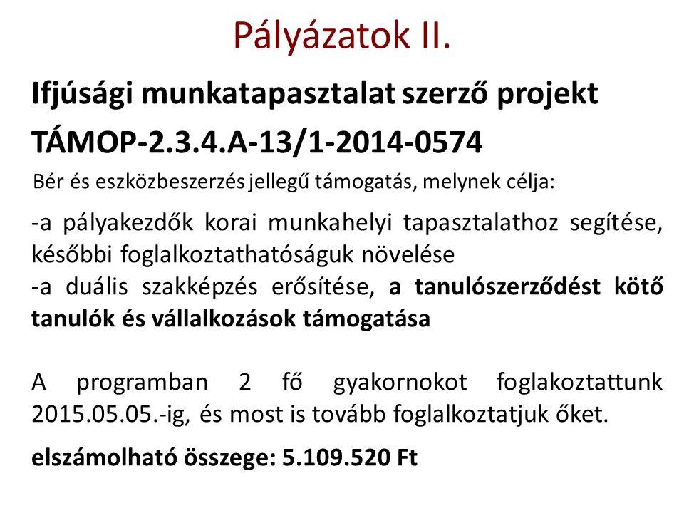Ifjúsági munkatapasztalat szerző projekt TÁMOP-2.3.4.A-13/1-2014-0574 Bér és eszközbeszerzés jellegű támogatás, melynek célja: -a pályakezdők korai mu