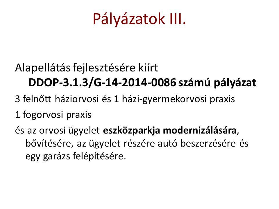 Alapellátás fejlesztésére kiírt DDOP-3.1.3/G-14-2014-0086 számú pályázat 3 felnőtt háziorvosi és 1 házi-gyermekorvosi praxis 1 fogorvosi praxis és az