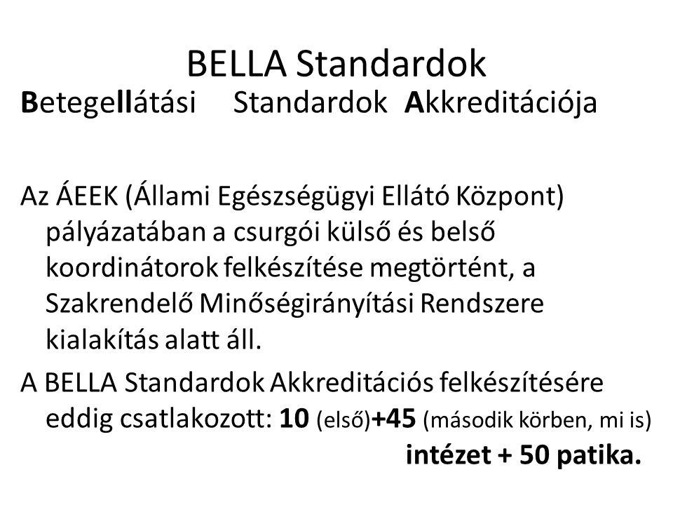 BELLA Standardok Betegellátási Standardok Akkreditációja Az ÁEEK (Állami Egészségügyi Ellátó Központ) pályázatában a csurgói külső és belső koordinátorok felkészítése megtörtént, a Szakrendelő Minőségirányítási Rendszere kialakítás alatt áll.