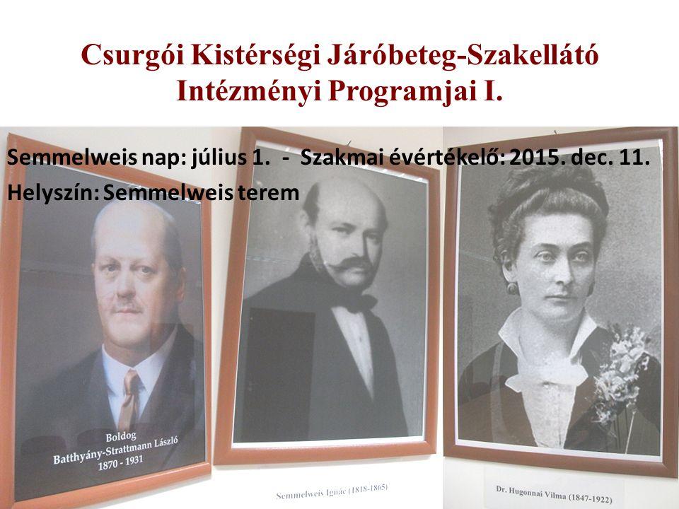 Csurgói Kistérségi Járóbeteg-Szakellátó Intézményi Programjai I.