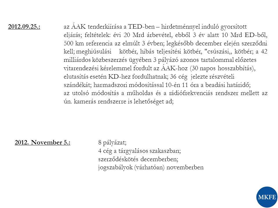 """2012.09.25.: az ÁAK tenderkiírása a TED-ben – hirdetménnyel induló gyorsított eljárás; feltételek: évi 20 Mrd árbevétel, ebből 3 év alatt 10 Mrd ED-ből, 500 km referencia az elmúlt 3 évben; legkésőbb december elején szerződni kell; meghiúsulási kötbér, hibás teljesítési kötbér, csúszási"""" kötbér; a 42 milliárdos közbeszerzés ügyében 3 pályázó azonos tartalommal előzetes vitarendezési kérelemmel fordult az ÁAK-hoz (30 napos hosszabbítás), elutasítás esetén KD-hez fordulhatnak; 36 cég jelezte részvételi szándékát; harmadszori módosítással 10-én 11 óra a beadási határidő; az utolsó módosítás a műholdas és a rádiófrekvenciás rendszer mellett az ún."""