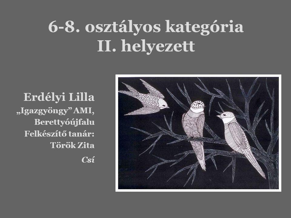 """6-8. osztályos kategória II. helyezett Erdélyi Lilla """"Igazgyöngy"""" AMI, Berettyóújfalu Felkészítő tanár: Török Zita Csí"""