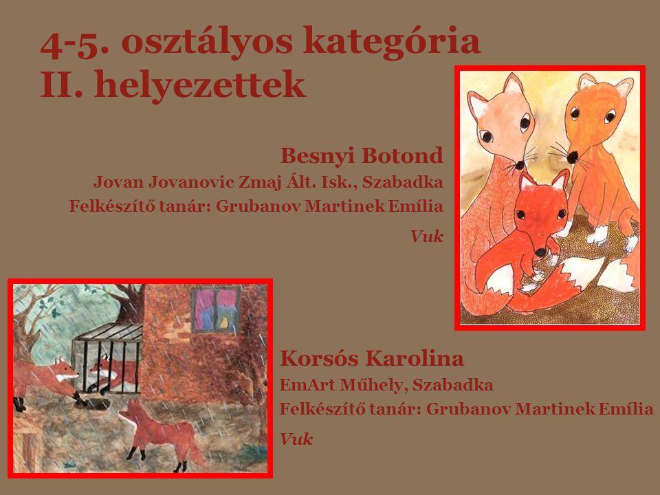 4-5. osztályos kategória II. helyezettek Besnyi Botond Jovan Jovanovic Zmaj Ált. Isk., Szabadka Felkészítő tanár: Grubanov Martinek Emília Vuk Korsós