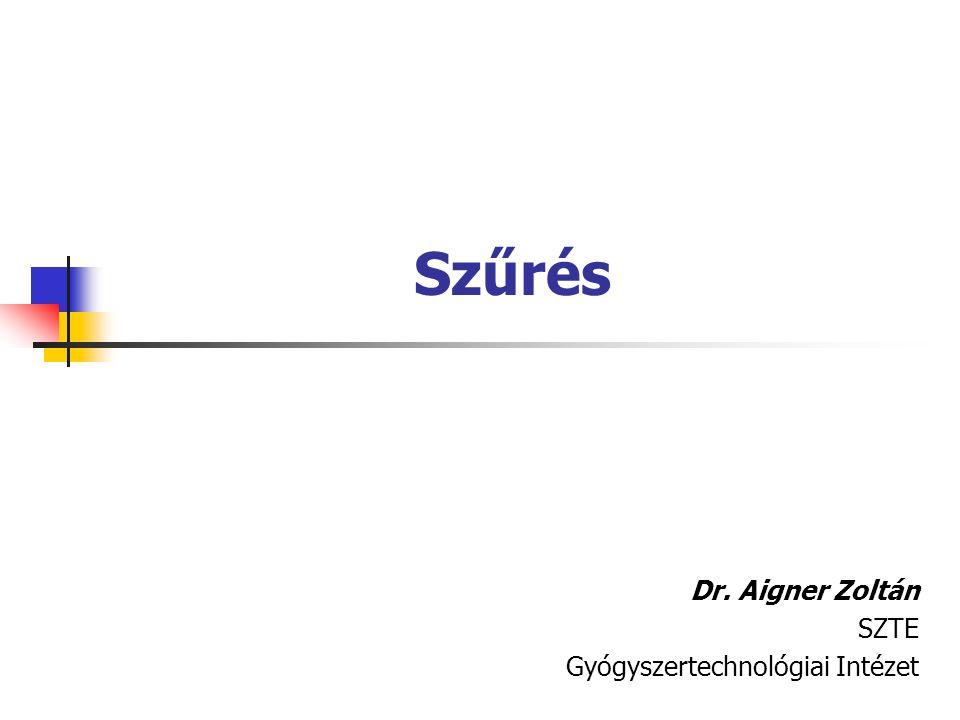 Szűrés Dr. Aigner Zoltán SZTE Gyógyszertechnológiai Intézet