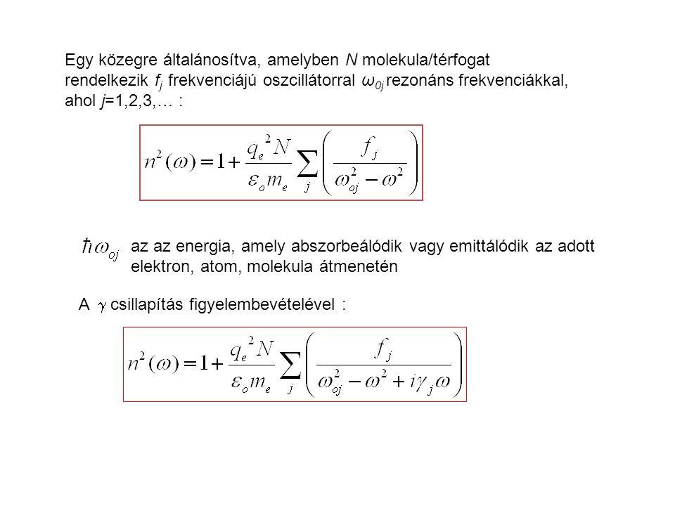 Egy közegre általánosítva, amelyben N molekula/térfogat rendelkezik f j frekvenciájú oszcillátorral ω 0j rezonáns frekvenciákkal, ahol j=1,2,3,… : az az energia, amely abszorbeálódik vagy emittálódik az adott elektron, atom, molekula átmenetén A  csillapítás figyelembevételével :